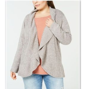 Karen Scott Macy's Plus Cocoon Open Cardigan Tan